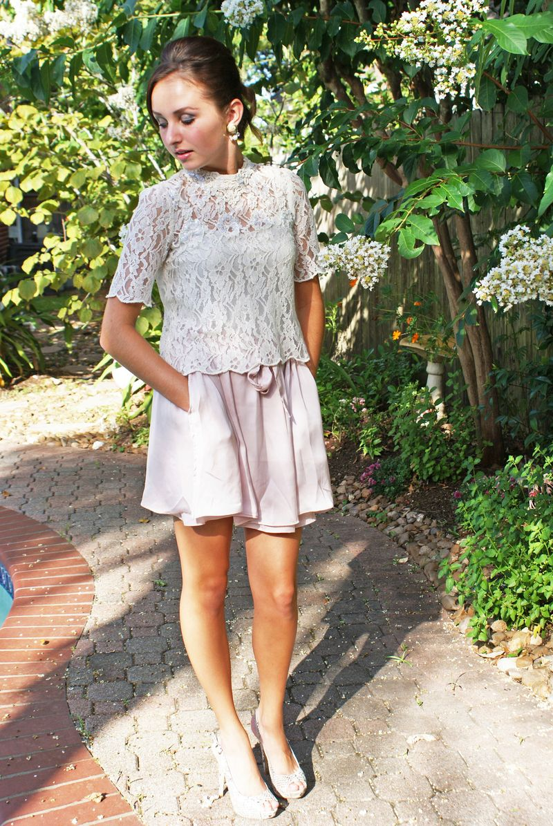 Blush and lace outfit two