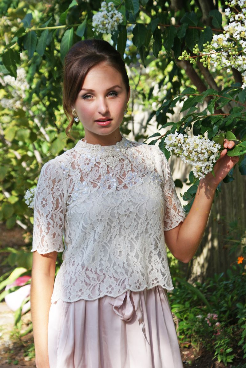 Blush and lace outfit